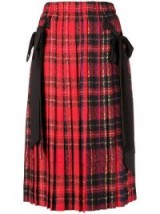 SIMONE ROCHA Red tartan pleated bow skirt