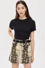 Topshop Snake Print Denim Skirt | reptile print mini