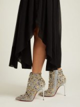 CHRISTIAN LOUBOUTIN So Full Kate 100 silver leather stud-embellished ankle boots ~ luxe metallic booties