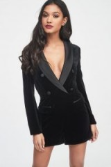 Lavish Alice soft velvet and satin mix tailored playsuit in black | plunge front tux style playsuits