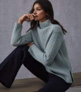 REISS SONIA CHUNKY RIBBED JUMPER PALE BLUE ~ high neck jumper