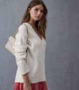 REISS SOPH RELAXED CABLE KNITTED JUMPER OFF WHITE ~ essential V-neck sweater