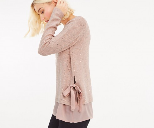OASIS SOPHIE SEQUIN WOVEN MIX JUMPER in Pale Pink