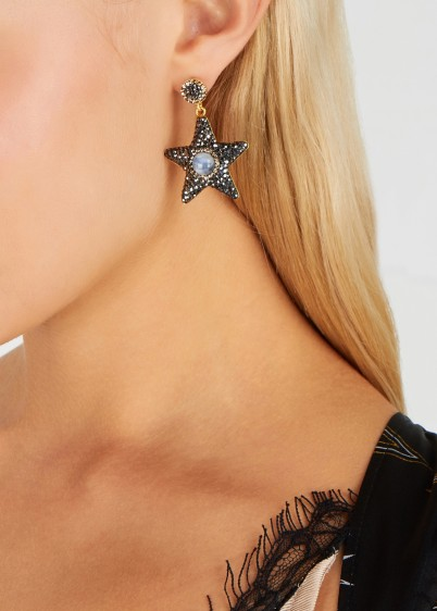 SORU JEWELLERY 18ct gold-plated vermeil star drop earrings