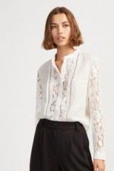 FRENCH CONNECTION SOUTHSIDE STRIPE LACE MIX SHIRT in Ecru – collarless – semi sheer panels