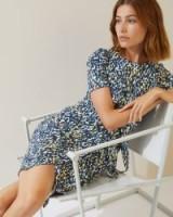 JIGSAW SPOT PRINT KNOT WAIST JERSEY DRESS Blue / feminine style