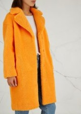 STAND Camille orange faux shearling coat / bright classic-style outerwear