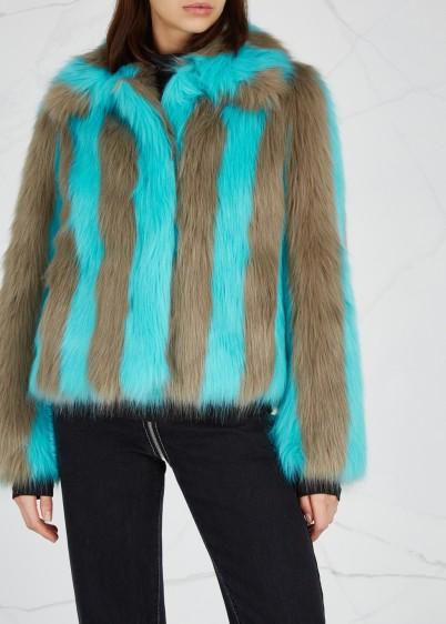 STAND Giovanna striped faux fur jacket in light-mushroom and aqua