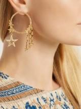 OSCAR DE LA RENTA Star crystal-embellished hooped earrings