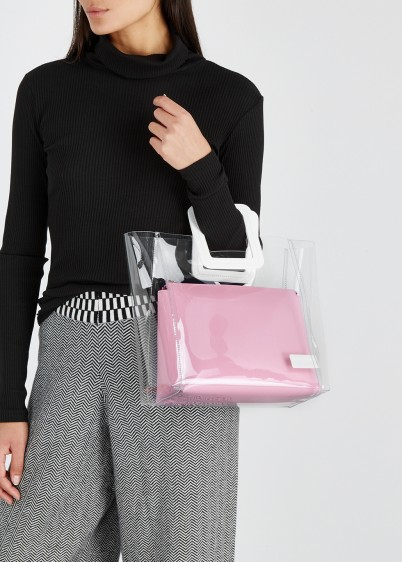 STAUD Shirley PVC and pink leather tote / clear handbag