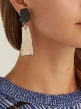 PROENZA SCHOULER Stone and metal hammered charm clip-on earrings ~ modern statement drops