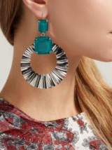 ISABEL MARANT Green Stone hoop-drop earrings