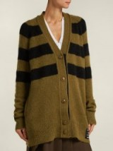 PSWL Black and Green Striped cardigan ~ utilitarian style knitwear