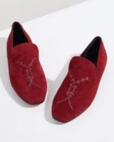 JIGSAW SURI EMBROIDERED SLIPPER Wine / rich red beaded loafers