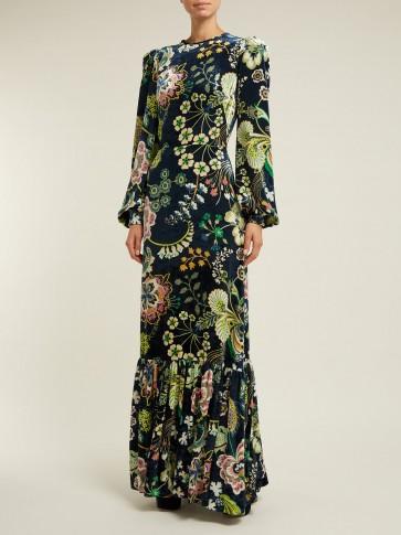 THE VAMPIRE'S WIFE Tea floral-print navy velvet dress