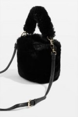 Topshop Teddy Black Faux Fur Bucket Bag | small fluffy top handle