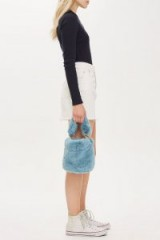 Topshop Blue Teddy Faux Fur Bucket Bag | small fluffy top handle bags