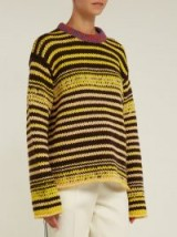 TCALVIN KLEIN 205W39NYC Television striped wool sweater ~ yellow drop shoulder jumper