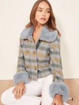 Reformation Templeton Coat in Blue Plaid | beautiful luxe style winter jacket