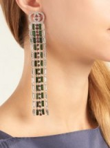 GUCCI Tennis crystal-embellished brass drop earrings