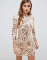 TFNC Petite floral sequin mini bodycon dress in rose gold | sequinned party frock