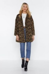NASTY GAL This Ones Fur You Leopard Coat in camel. WILD ANIMAL PRINTS