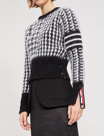 THOM BROWNE Dogstooth wool-mohair jumper Black/White / houndstooth check sweater