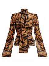 DOLCE & GABBANA Tiger-print silk-blend chiffon blouse ~ glamorous animal prints ~ pussy bow ~ vintage style