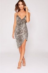 IN THE STYLE TILLEY BROWN LEOPARD PRINT ASYMMETRIC WRAP FRONT DRESS | plunging going out frock