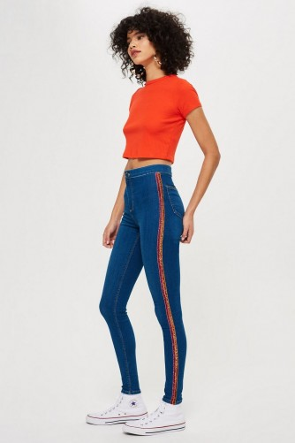 Topshop Tinsel Side Stripe Joni Jeans in Indigo | embellished skinnies