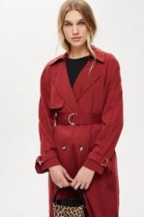 TOPSHOP Burgundy Trench Coat – red belted mac