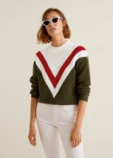 Mango Tricolor cotton sweater in khaki – vintage inspired knitwear