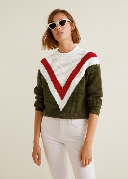 Mango Tricolor cotton sweater in khaki – vintage inspired knitwear