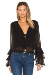 Tularosa WINNIE TIERED RUFFLE SLEEVE BLOUSE in Black | semi sheer | plunge front neck