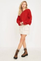 UO Red Cable Knit Chenille Jumper | autumn knitwear | loose dropped sleeves | soft feel