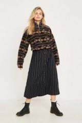 UO Emilia Vertical Stripe Button-Though Midi Skirt in Black Multi | A-line skirts