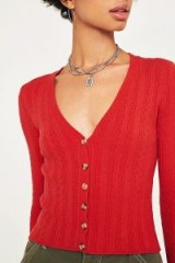 UO Mini Cable Knit Crop Cardigan in Red | autumn knits