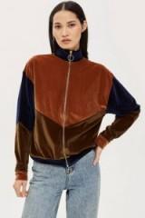 TOPSHOP Velour Panel Zip Sweatshirt – retro zip-up top