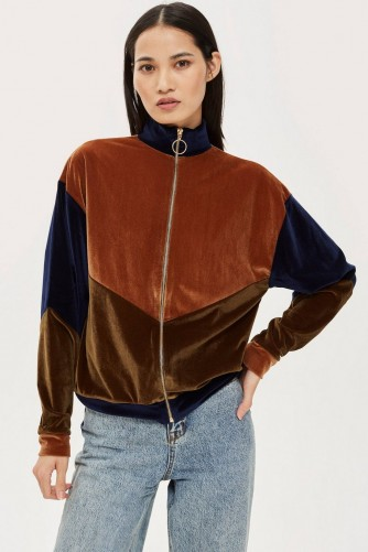 TOPSHOP Velour Panel Zip Sweatshirt – retro zip-up top