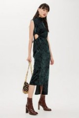 Topshop Velvet Ruched Midi Dress in Forest | green cut-out party frock