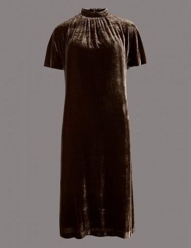 AUTOGRAPH Velvet Short Sleeve Shift Dress in Cocoa / dark brown Autumn dresses