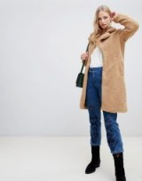 Vero Moda Teddy Coat in cognac / light-brown Borg