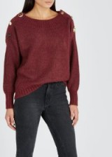 VERONICA BEARD Chase embellished alpaca-blend jumper in red / crystal embellishments