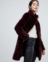 Vila Faux Fur Coat in Winetasting / fluffy dark-red winter coats