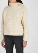 VINCE Cream hooded faux-shearling jumper ~ luxe winter hoodie
