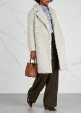 VINCE Shaggy stone faux shearling coat / neutral winter coat