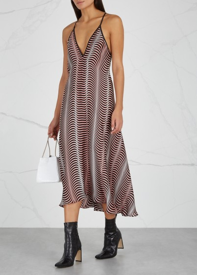 WESTLEY AUSTIN Printed silk slip dress | deep V-neck cami frock