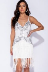 Parisian WHITE SILVER SEQUIN BODY TASSEL TRIM CAMI DRESS – glamorous party dresses