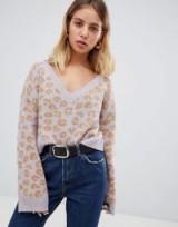 Wild Honey v neck jumper in leopard in lavender | animal print knitwear