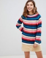 Willow & Paige fluffy knit jumper in stripe multi | soft crew neck sweater
